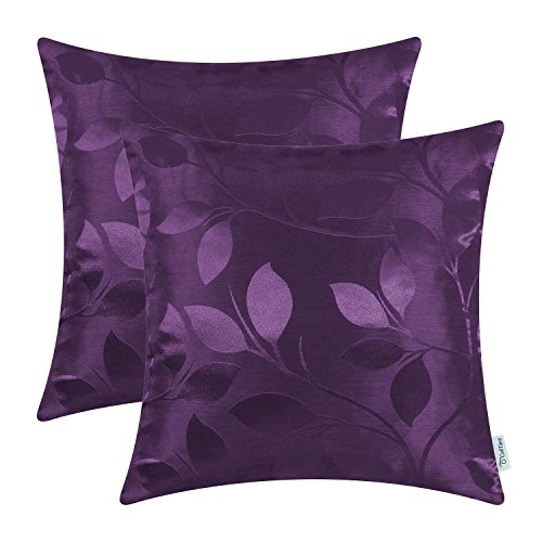 CaliTime Pack of 2 Throw Pillow Covers Cases for Couch Sofa Home Decor Shining & Dull Contrast Vibrant Growing Leaves 18 X 18 Inches Deep Purple