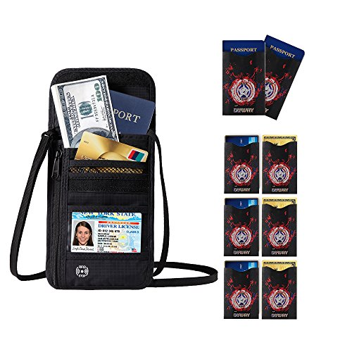 Price comparison product image DEW Travel Passport Holder Stash Hidden Neck Pouch RFID Blocking Travel Anti-Theft Hidden Wallet for SecurityWater Resistant Pocket Pouch Neck Passport Wallet (Black Bag + 8 Car Protector)