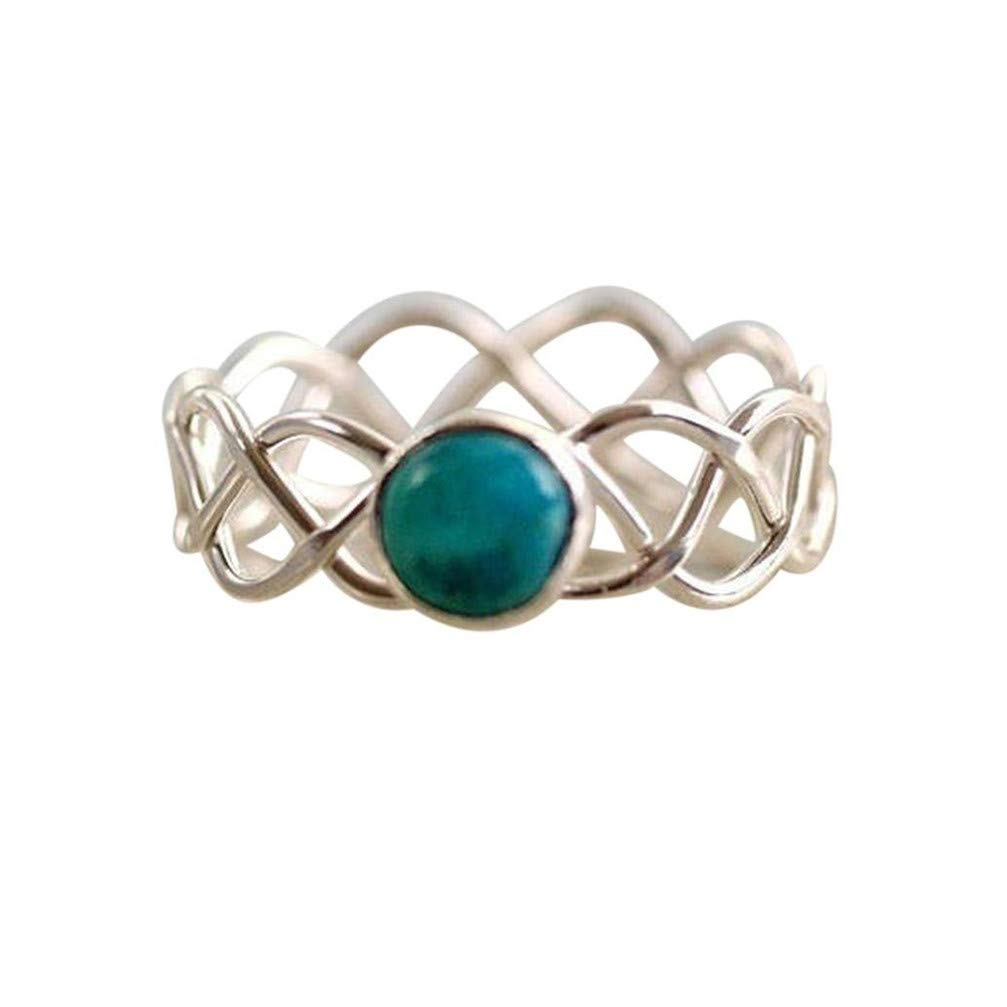 Myhouse Vintage Openwork Turquoise Wave Ring Charm Gift For Women,8