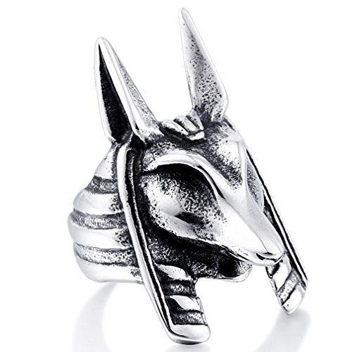 Men's Vintage Gothic Stainless Steel Band Rings Silver Black Hell Wolf Anubis Biker Rings Size (Wolf Trap Costumes)
