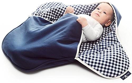 Wallaboo Baby Blanket Coco,Supersoft 100% Pure Cotton, Multi-Use for Pram or Car Seat and Travel, Newborn upto 10 months, Size: 35 x 28 inch, Color:Vichy Blue -  Wallaboo BV, BBC.0214.4625