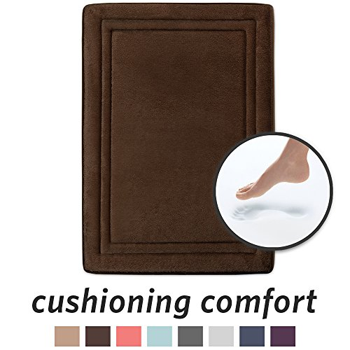 (MICRODRY Quick Drying Memory Foam Framed Bath Mat with GripTex Skid-Resistant Base, 17x24, Chocolate)