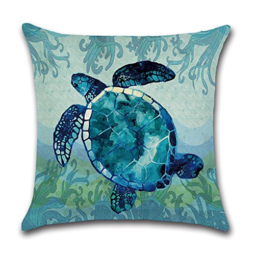 Royalours Cotton Linen Throw Pillow Covers Ocean Marine Animal Set Outdoor Decorative Pillow Cases Cushion Cover for Home Sofa Office 18''x 18'' (Blue Ocean Style) by Royalours (Image #3)