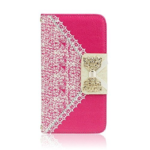 [Red Fashion Girl Woman Fresh Sweet Cute Flip Wallet Leather Case Cover for Samsung Galaxy S5 I9600] (Geneva Bows)