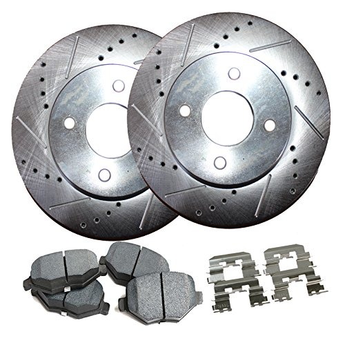 Drum Chevy Brake (Detroit Axle - 4-Lug Drilled & Slotted Front Brake Rotors & Ceramic Pads w/Clips Hardware Kit for 2005 2006 2007-2010 Chevy Cobalt - [07-08 Pontiac G5] - 03-07 Saturn Ion - Rear Drum Brake Models Only)