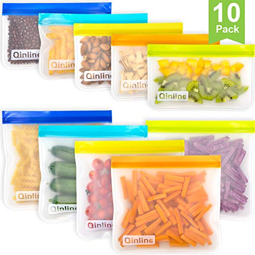 Reusable Storage Bags – 10 Pack Leakproof Freezer Bag(5 Reusable Sandwich Bags + 5 Reusable Snack Bags) EXTRA THICK Ziplock Lunch Bags for Food Storage Home Organization Traval & Make-up BPA FREE