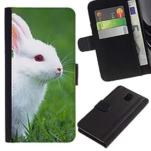 """Samsung Galaxy Note 3 III N9000 N9002 N9005 , la tarjeta de Crédito Slots PU Funda de cuero Monedero caso cubierta de piel ("""" Rabbit Cute White Blue Eyes Grass Nature"""")"""
