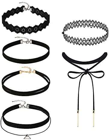 Mudder 6 Pieces Black Velvet Choker Necklaces Set Gothic Stretch Tattoo Choker Elastic Tassel Pendant Necklaces for Women Girls