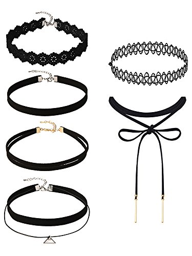 Mudder 6 Pieces Black Velvet Choker Necklaces Set Gothic Stretch
