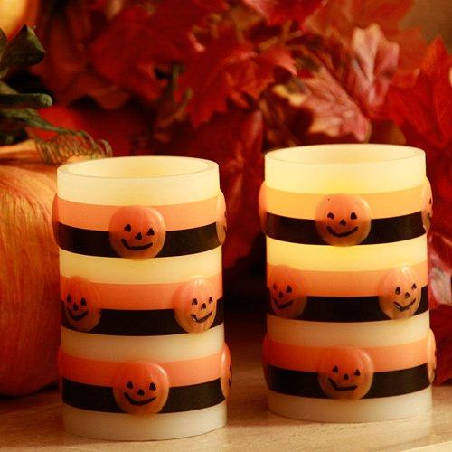 Enjoy Lighting Halloween Flameless Pumpkin Candle Set of ...