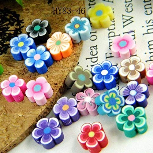 Large Flower Bead - HYBEADS 100per 8mm Mixed Fimo clay daisy flower Beads