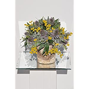 Rustic Purple Thistle, Yellow Pussywillow & Sage Green Foliage Floral Pot Arrangement 7