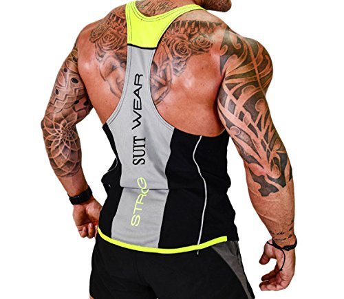 UPC 728129294277, ICOOLTECH Men's Fitness Gym Muscle Cut Stringer Bodybuilding Workout Sleeveless Tank Top Shirts (US - X-Large, Black and Yellow)