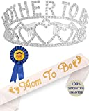 Mother To Be Tiara Hearts Crown + Mom To Be Sash + Dad To Be Pin - Baby Shower Party Favors Decorations Gift For Boy or Girl