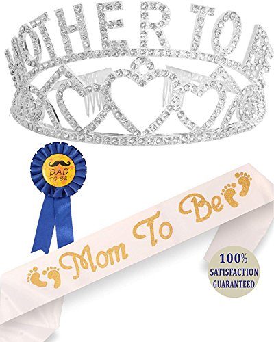 Mom Shower - Mother To Be Tiara Hearts Crown + Mom To Be Sash + Dad To Be Pin - Baby Shower Party Favors Decorations Gift For Boy or Girl