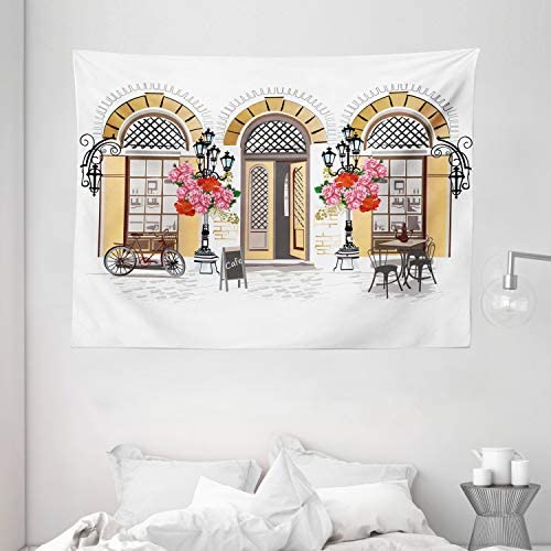 Lunarable Urban Tapestry, European Coffee Shop at Paris Streets with Flowerbeds and Lanterns Romantic Print, Wide Wall Hanging for Bedroom Living Room Dorm, 80 X 60 , Pastel Brown