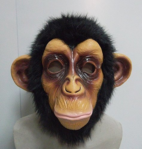 Adults Chimp Full Head Mask Fancy Dress Outfit Accessory