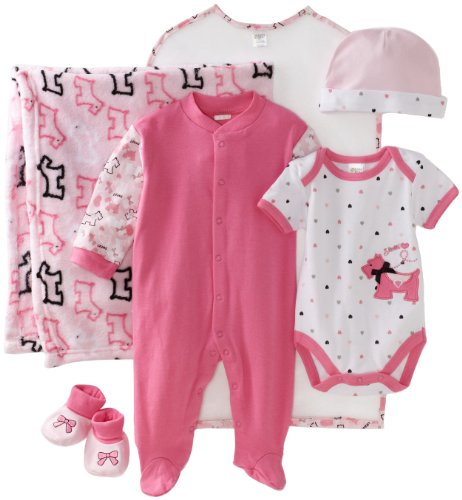 BabyGear Baby-girls Newborn Scottie 6 Piece Hanging Layette Set In Garment Bag