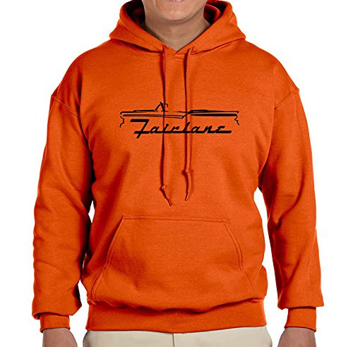 1957-59 Ford Fairlane Convertible Classic Outline Design Sweatshirt Hoodie large orange