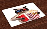 Ambesonne Movie Theater Place Mats Set of 4, Cat with Popcorn and Drink Watching Movie Glasses Entertainment Cinema Fun, Washable Fabric Placemats for Dining Room Kitchen Table Decor, Multicolor
