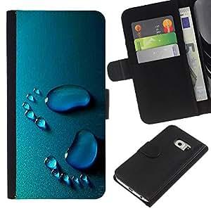 KingStore / Leather Etui en cuir / Samsung Galaxy S6 EDGE / Bebé Pasos