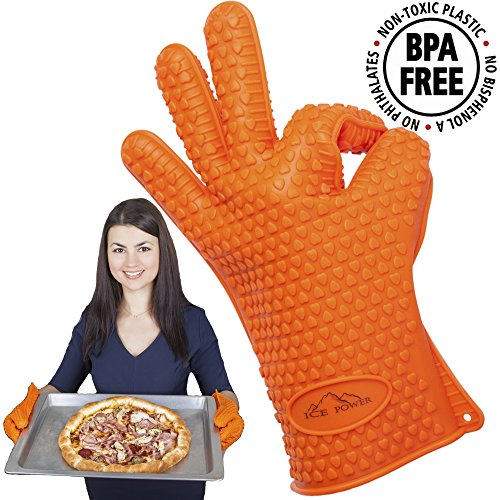 BBQ Gloves Silicone BBQ Oven Gloves - Kitchen Gloves Heat Resistant Best Heat Resistant Cooking Silicone Gloves For Barbecue Grilling Boiling - Excellent Oven Mitts For Outdoor and Kitchen Use
