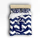 4 Pieces Home Comforter Bedding Set, Custom Nautical Navy Blue Anchor Queen Size