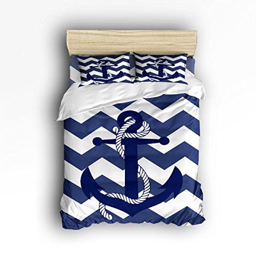 4 Pieces Home Comforter Bedding Set, Custom Nautical Navy Blue Anchor King (Custom Comforter Sets)