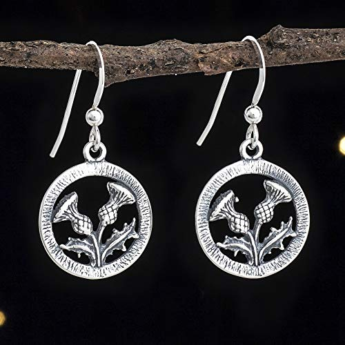(Sterling Silver Scottish Thistle Earrings - Double Sided - Solid .925 Sterling Silver, Ready to Ship )