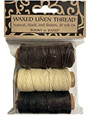 Lineco Natural, Brown, Black 20yds Each Waxed Linen 5 Ply Thread 3/Pkg