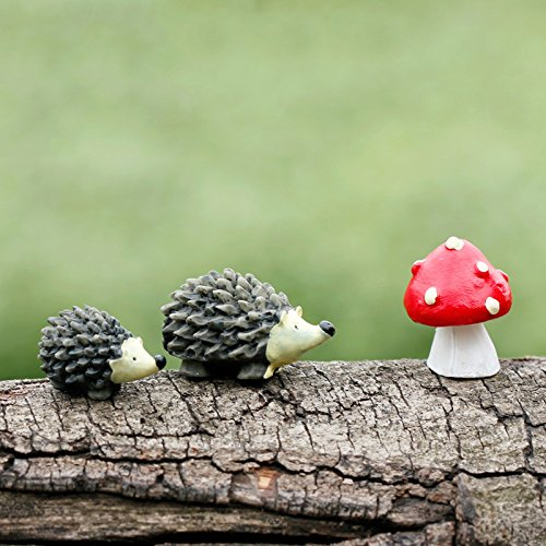 u-hoMEy Miniature Fairy Garden Hedgehog Mushroom Home Decora