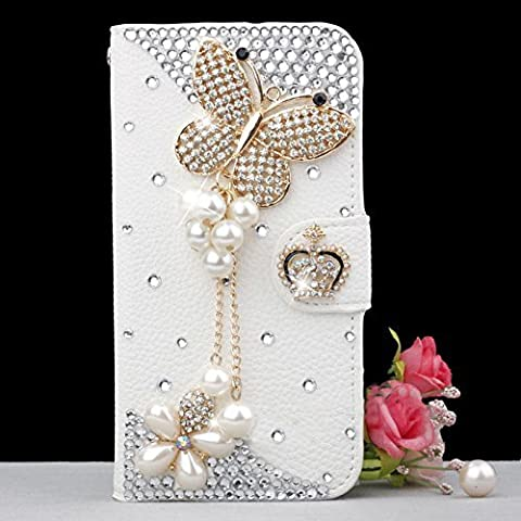 Luxury 3D Fashion Bling Diamond Bow PU Flip Wallet Leather Case Cover For Smart Mobile Phones (ZTE ZMax Z970 , Butterfly (Zte Zmax Phone Case Z970)