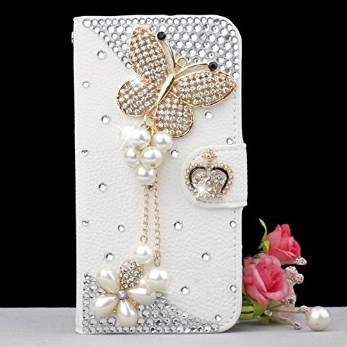 iPhone 7 Plus Wallet Case, UnnFiko Handmade Luxury 3D Bling Crystal Rhinestone Leather Purse Flip Card Pouch Stand Cover Case for iPhone 7 Plus 5.5 In…