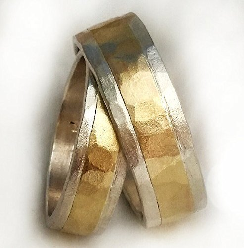 (Unique Wedding Ring Set, Sterling Silver with 10k Yellow Gold, Wedding Ring Set His and Hers, Clean Design, Two-Tone Ring, Hammered Gold, His and Her Wedding Band Set)