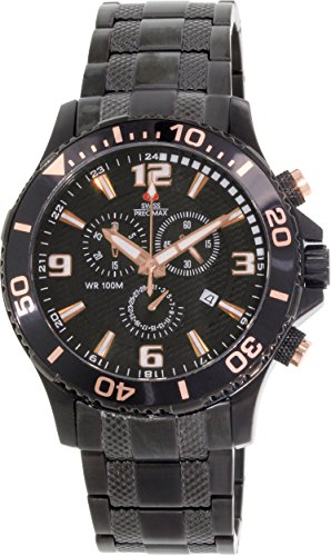 Swiss Precimax Men's SP13229 Tarsis Pro Black Dial Black Stainless-Steel Band Watch