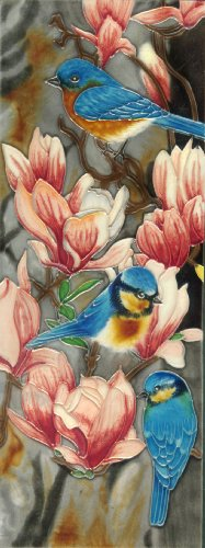 Ceramic Art - Continental Art Center KD-085 6 by 16-Inch Blue Bird with Magnolia Flower Ceramic Art Tile