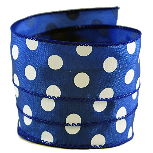 Polka Dot Blue and White Satin Wired Ribbon #9-1.5in x 10 yards