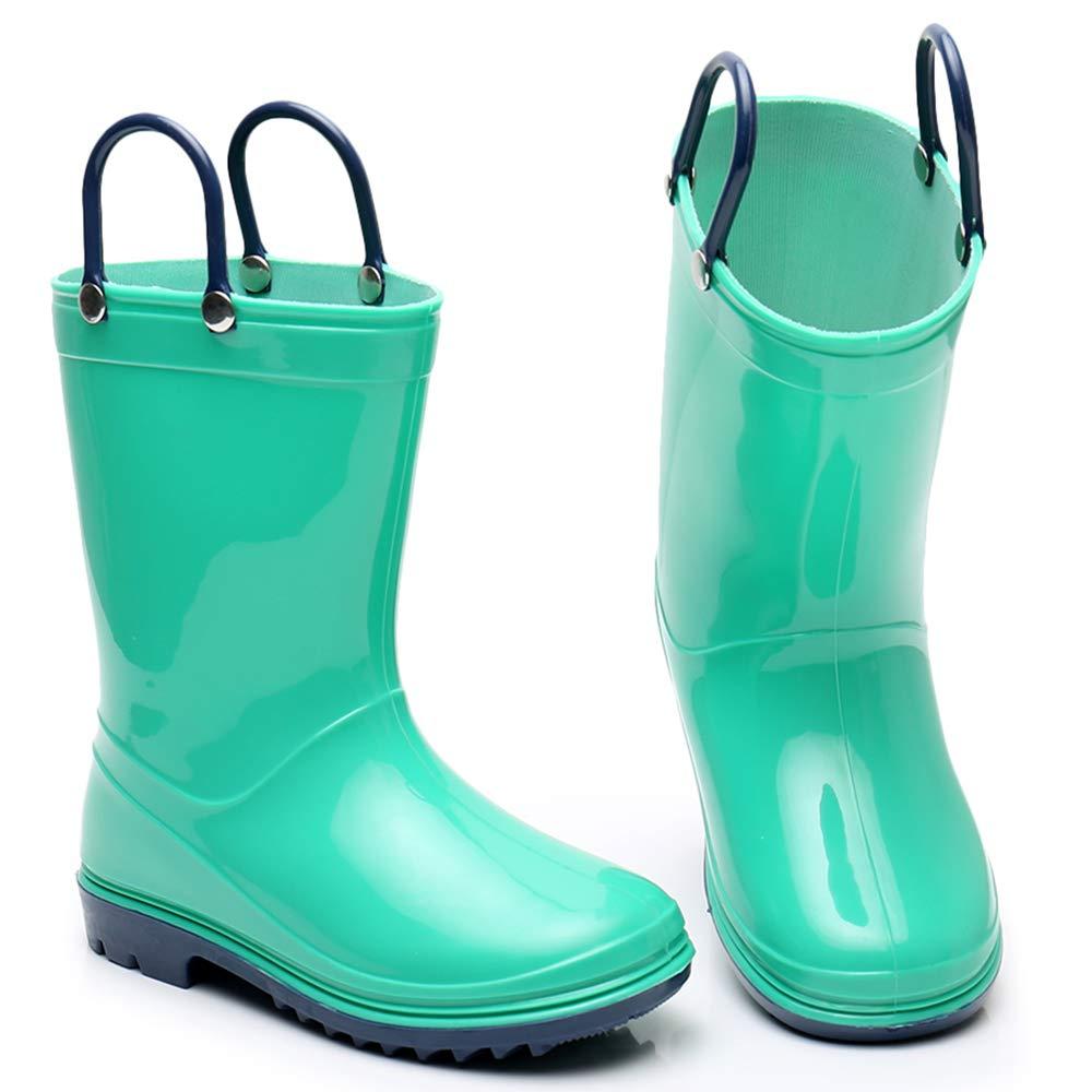 Girls Solid Lightweight Rain Boots with Handle Kids Cute Waterproof Shoes(Grey/Black/Blue/Green) (Little Kid 3M, Green) by TRIPLE DEER (Image #5)