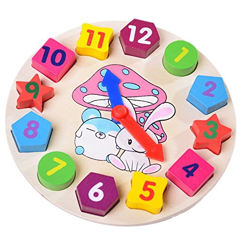 PANNIUZHE Kids Wooden Watch Puzzle Toys Cognitive Digital Clock Digital Block Numbers Shape Sorting Sorter Intelligent Toys for 2 years old