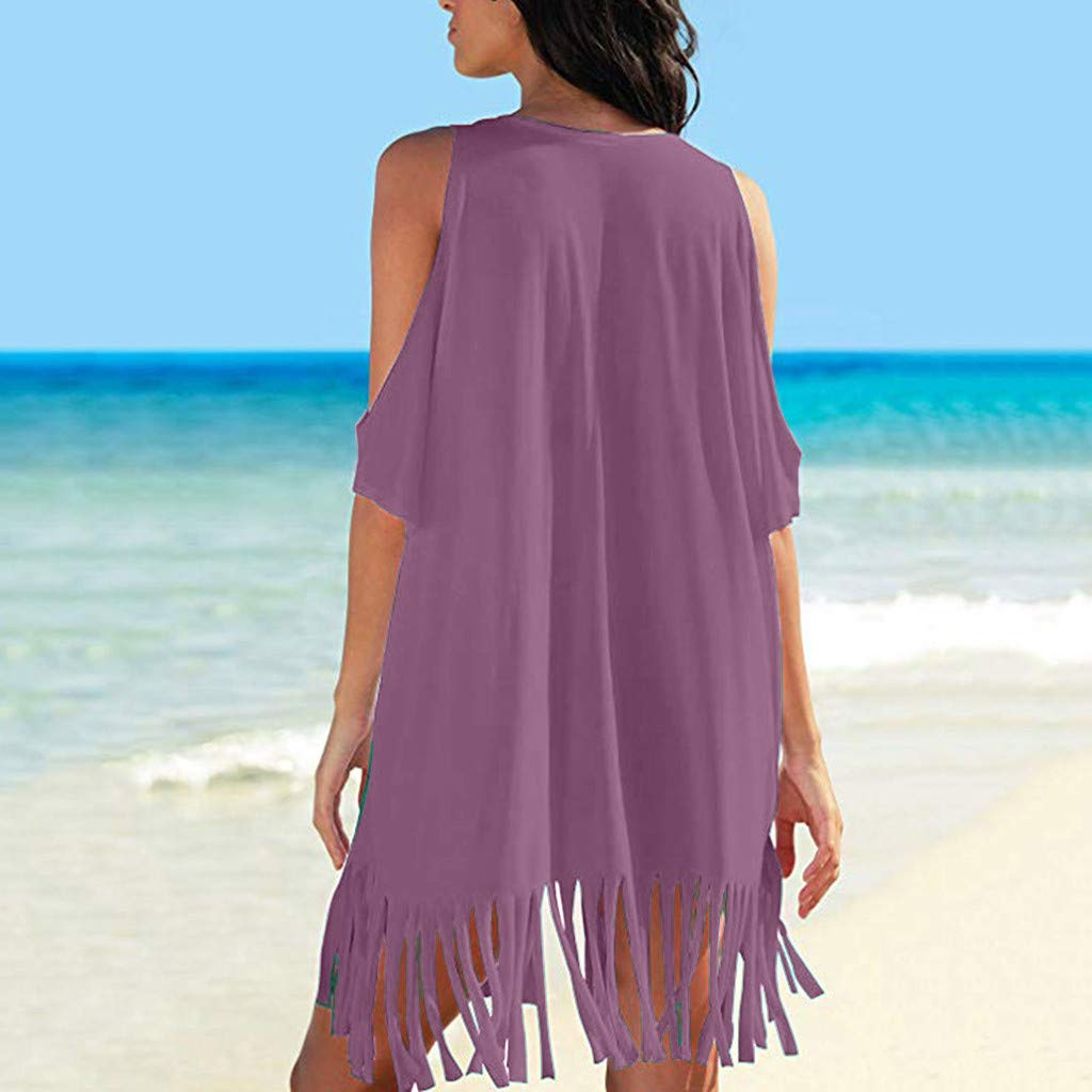 ReooLy Womens Tassel Letters Stampa Baggy Swimwear Bikini Cover-ups Beach Dress