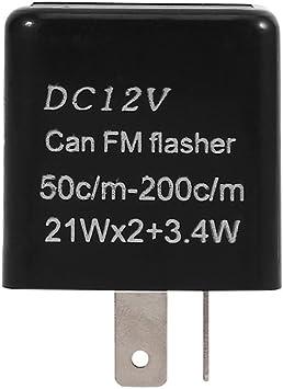 Keenso 12V 2 Pin Electronic Motorcycle Flasher Blinker Turn Signal Relay Motorcycle Speed Adjustable LED Indicator Light