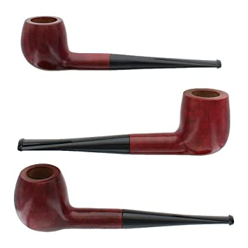 Briar Tobacco Pipe - Assorted 3 Pack - Red