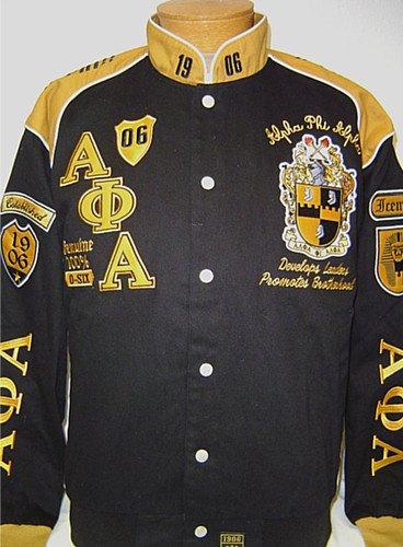 メンズブラックとゴールドAlpha PhiアルファbottonUp刺繍ジャケットサイズ3 x l B077R8Y4P4