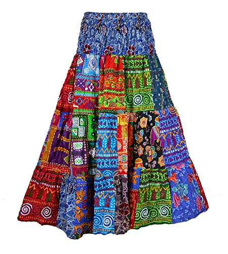 BONYA Women's Hippie Boho Colorful Patchwork Smocked Stretch Waist Tiered Long Skirt (Color39)