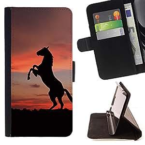 BullDog Case - FOR/LG G3 / - / SUNSET MUSTANG HORSE /- Monedero de cuero de la PU Llevar cubierta de la caja con el ID Credit Card Slots Flip funda de cuer