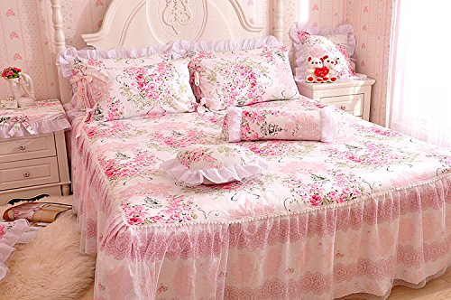 - LELVA King Bed Skirt Floral Romantic Lace Girls Bed Sheets Pink Ruffle Skirted Sheet