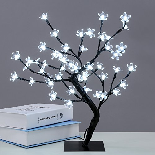 Excelvan Cherry Blossom Desk Top Bonsai Tree Light, Decorative Warm White Light, Black Branches, Perfect for Home Festival Party Wedding Christmas Indoor Outdoor Decoration, Cold White