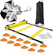 Sports Speed & Agility Training Set, with Agility Ladder, Cone Exercise, and Resistance Umbrella etc, Agil