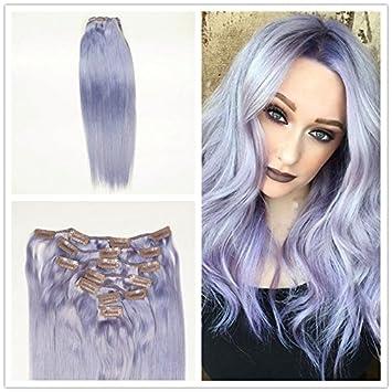 Amazon Com Alizee 22 Clip In Hair Extensions Pastel Purple