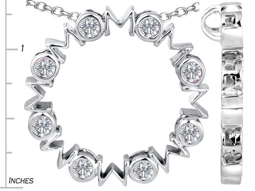 Star K Sterling Silver Large MOM Circle Mother s pendant